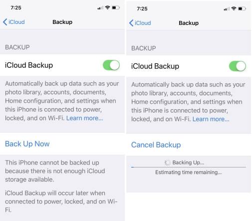 Не удалось завершить последнее резервное копирование iCloud iOS 14 после обновления, сбой
