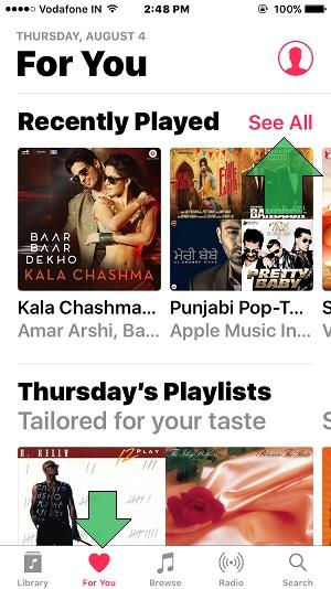 Как увидеть недавно воспроизведенную музыку в Apple Music на iPhone, iPad