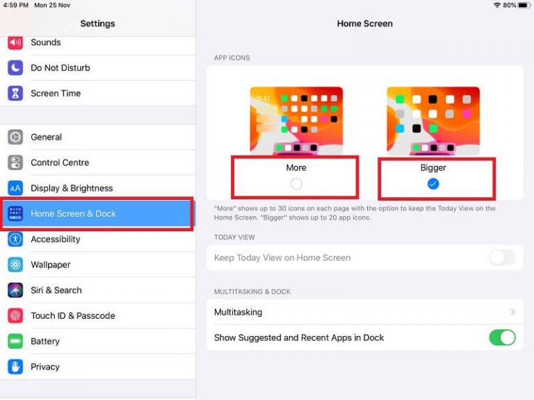 Как настроить размер значка приложения на главном экране iPad