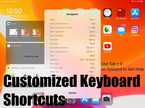 Как создать / изменить внешние сочетания клавиш в iPadOS 14