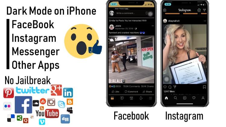 Как включить темный режим в Facebook, Instagram iPhone[2021]