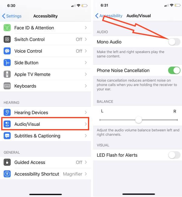 Как включить монофонический звук на iPhone XS Max, XS, XR, X, 8Plus, 7Plus, 6S +