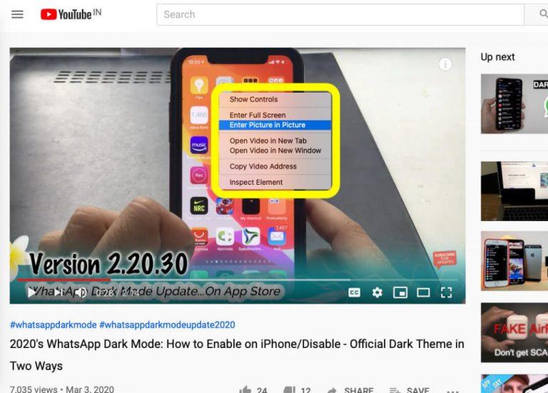 Как включить картинку в картинке для YouTube на MacBook, Mac 2021