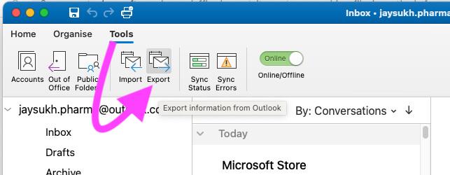 Как сделать резервную копию / экспортировать электронные письма, контакты, календарь и другие данные Outlook