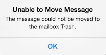 Невозможно переместить сообщение в корзину в почтовом приложении для iOS на iPhone