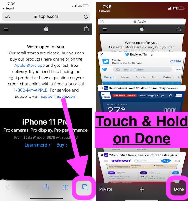 Как сразу закрыть все вкладки в Safari на iPhone 12Pro, 11 (Pro Max), XR