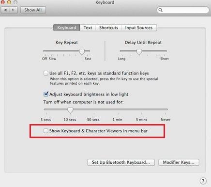 Добавить средство просмотра символов и клавиатуры на Mac, верхняя строка меню MacBook