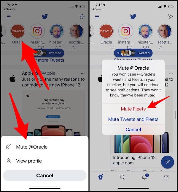 Отключить / включить звук или скрыть / показать флот в Twitter iPhone, iPad, Android