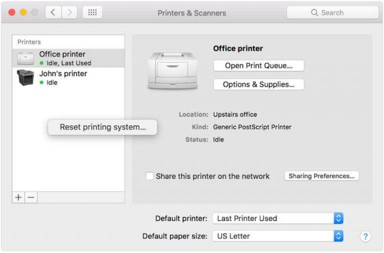 Принтер не работает в MacOS Big Sur, Catalina: сброс / настройка нового принтера