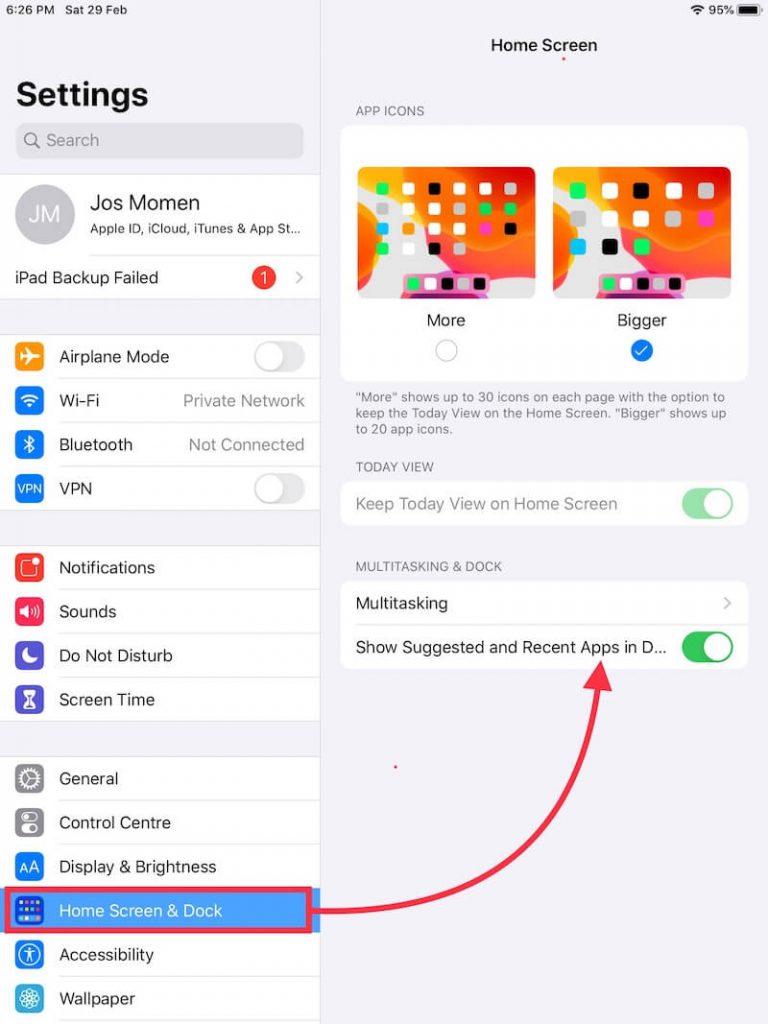 Показать / очистить / удалить недавно использованные приложения на док-станции iPad, отключив ее