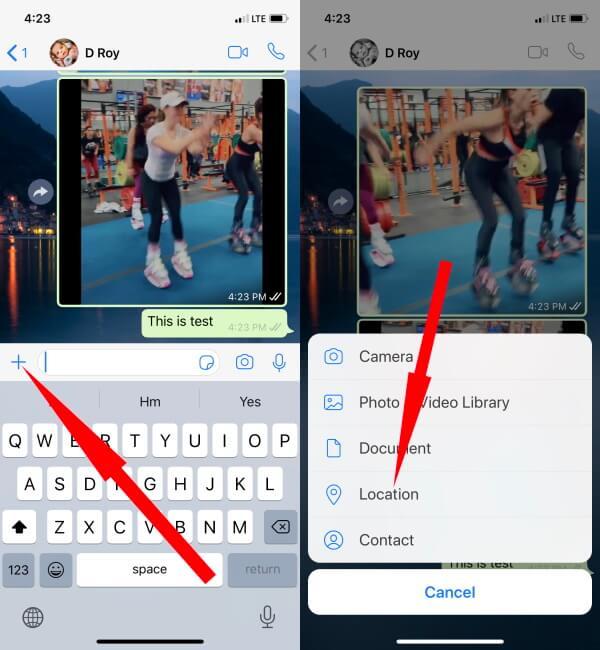 Как поделиться текущим местоположением в WhatsApp на iPhone и Android в 2021 году