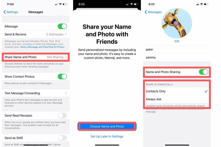 Установить и поделиться пользовательским именем и фотографией в iMessage iOS 14 / 13.7 / iPadOS