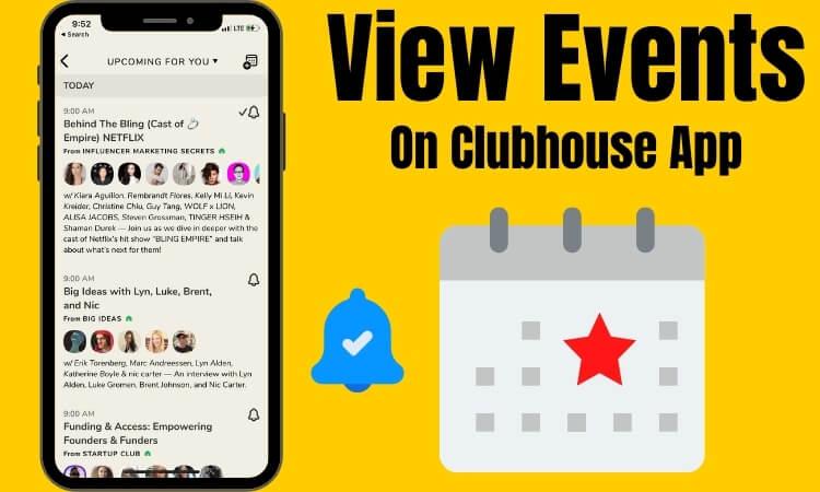 Просмотр предстоящих событий и включение уведомлений в социальном приложении Clubhouse