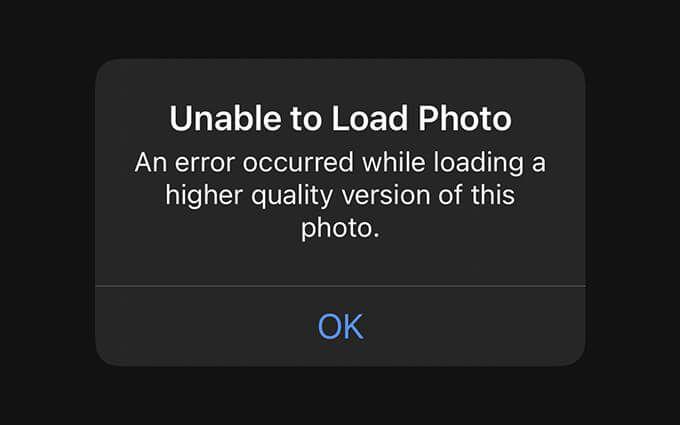 Как исправить «Произошла ошибка при загрузке более качественной версии этой фотографии» на iPhone